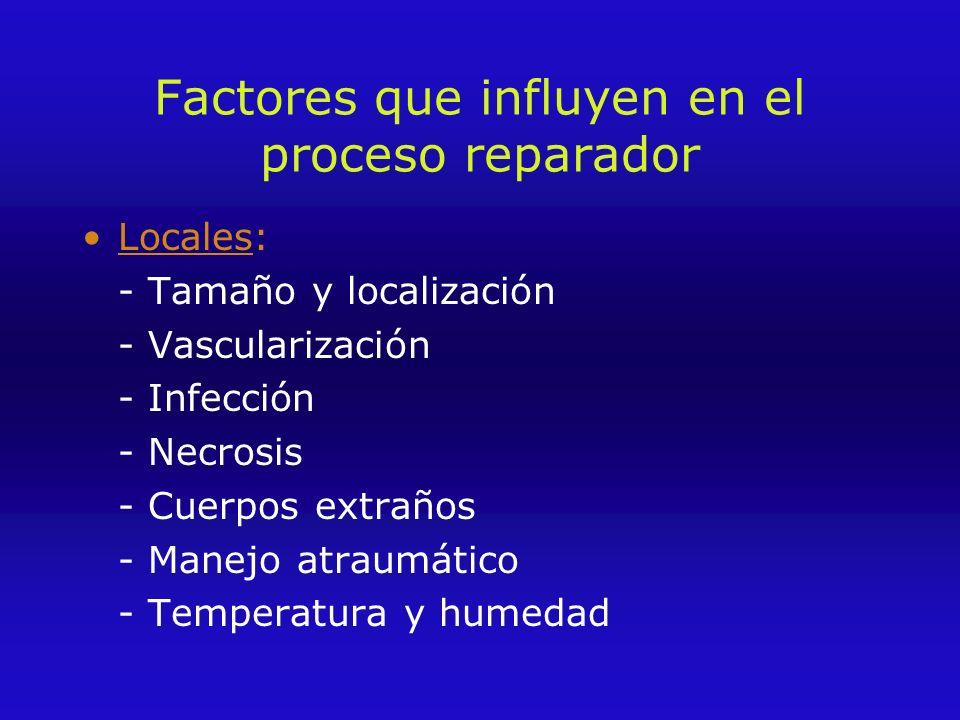 Factores que influyen en el proceso reparador Locales: - Tamaño y localización - Vascularización - Infección - Necrosis - Cuerpos extraños - Manejo atraumático - Temperatura y humedad