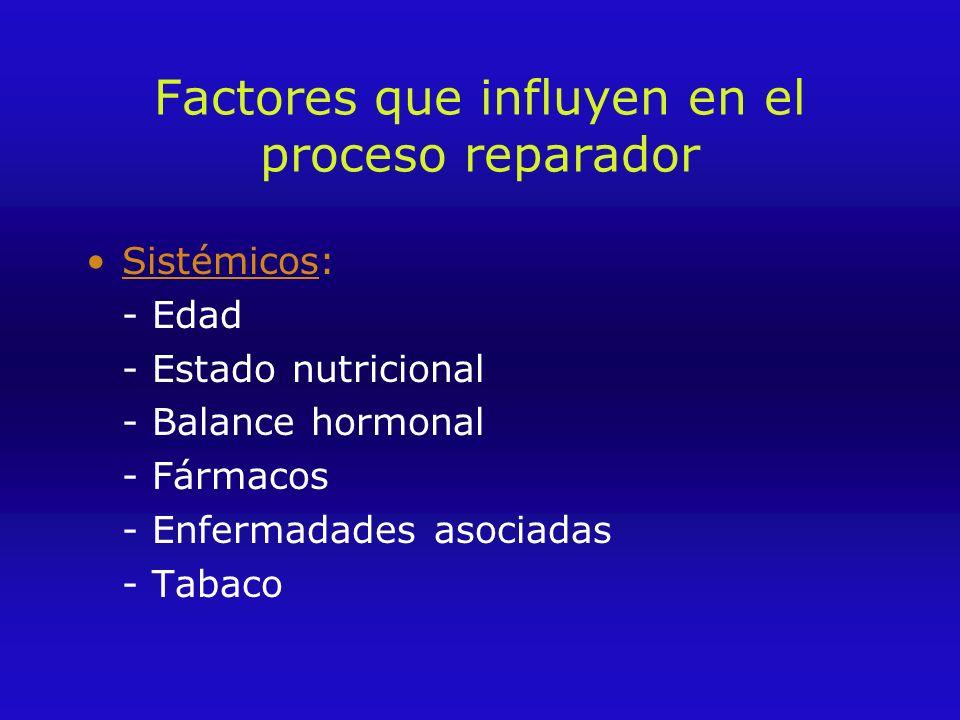 Factores que influyen en el proceso reparador Sistémicos: - Edad - Estado nutricional - Balance hormonal - Fármacos - Enfermadades asociadas - Tabaco