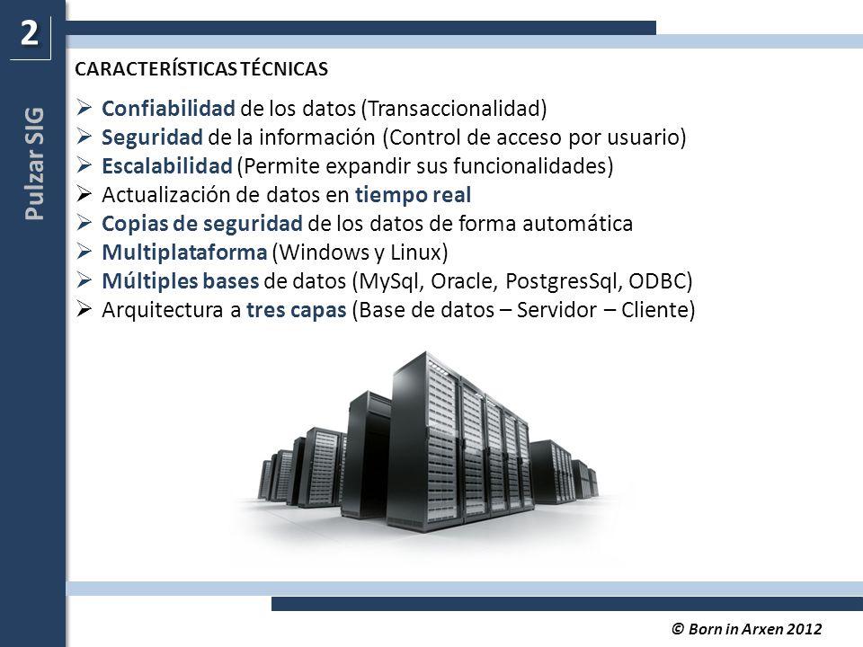 Pulzar SIG © Born in Arxen 2012  Confiabilidad de los datos (Transaccionalidad)  Seguridad de la información (Control de acceso por usuario)  Escalabilidad (Permite expandir sus funcionalidades)  Actualización de datos en tiempo real  Copias de seguridad de los datos de forma automática  Multiplataforma (Windows y Linux)  Múltiples bases de datos (MySql, Oracle, PostgresSql, ODBC)  Arquitectura a tres capas (Base de datos – Servidor – Cliente) 2 2 CARACTERÍSTICAS TÉCNICAS