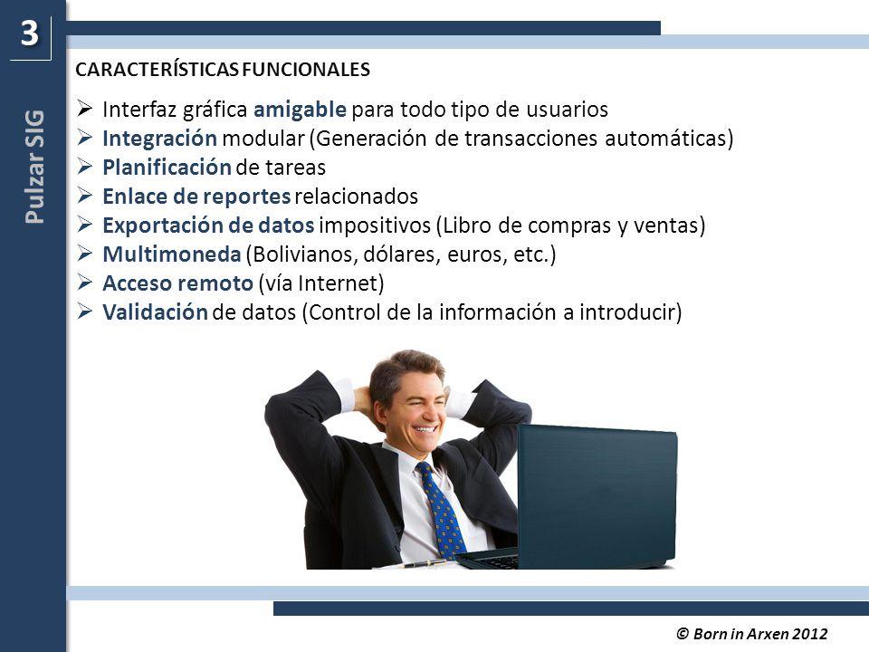 Pulzar SIG © Born in Arxen 2012  Interfaz gráfica amigable para todo tipo de usuarios  Integración modular (Generación de transacciones automáticas)  Planificación de tareas  Enlace de reportes relacionados  Exportación de datos impositivos (Libro de compras y ventas)  Multimoneda (Bolivianos, dólares, euros, etc.)  Acceso remoto (vía Internet)  Validación de datos (Control de la información a introducir) 3 3 CARACTERÍSTICAS FUNCIONALES