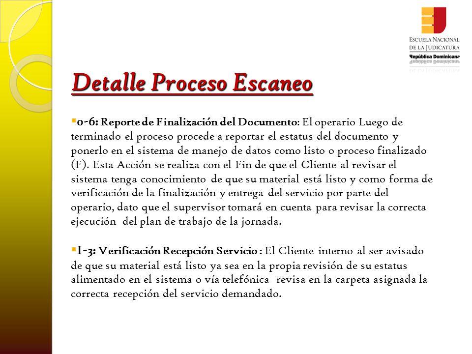 Detalle Proceso Escaneo  0-7: Aprobación Recepción del Servicio : Luego de que la recepción del servicio ha sido verificada por el cliente, este procede a aprobar esa recepción a través del sistema en donde da constancia de que el documento digital ya le fue enviado.