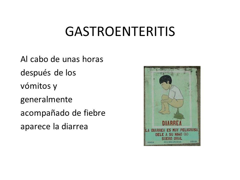 GASTROENTERITIS Al cabo de unas horas después de los vómitos y generalmente acompañado de fiebre aparece la diarrea
