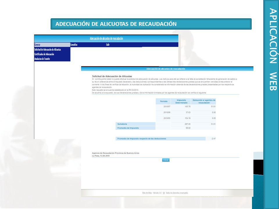 ADECUACIÓN DE ALICUOTAS DE RECAUDACIÓN APLICACIÓN WEB
