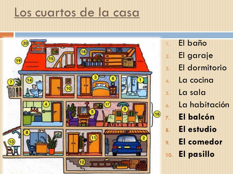 Los cuartos de la casa 1. El baño 2. El garaje 3. El dormitorio 4. La cocina 5. La sala 6. La habitación 7. El balcón 8. El estudio 9. El comedor 10.