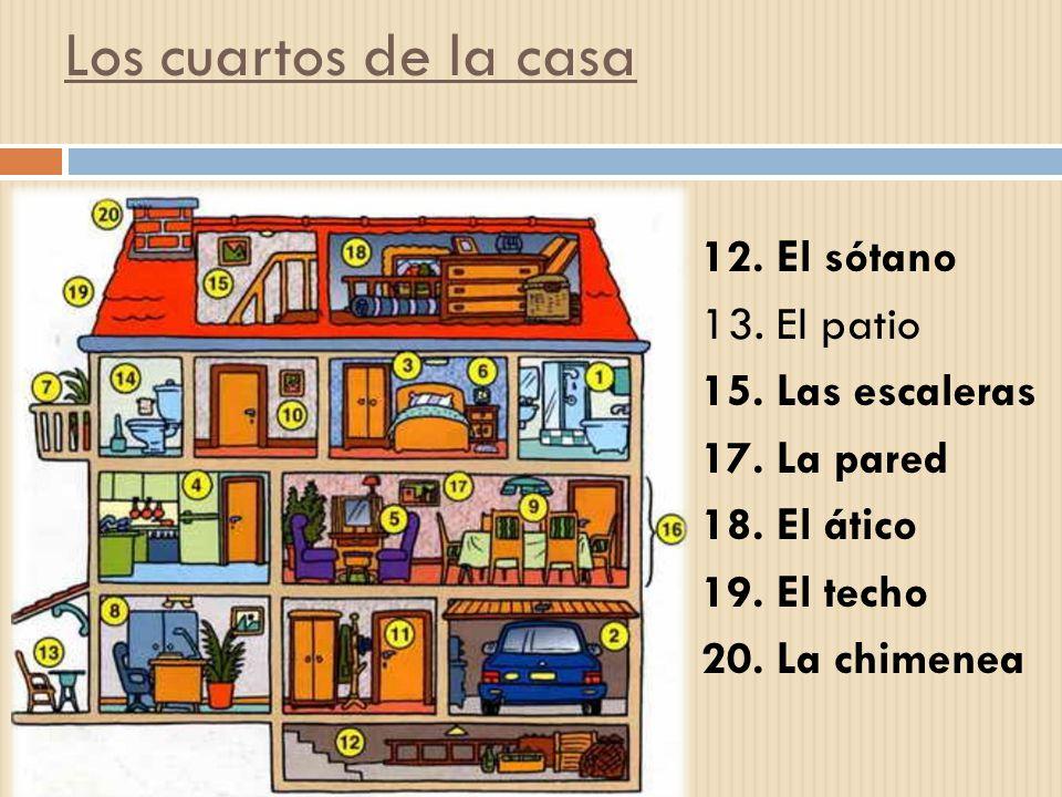 Los cuartos de la casa 12.El sótano 13. El patio 15.