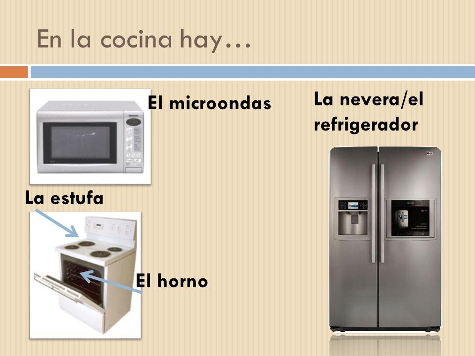 En la cocina hay… La nevera/el refrigerador El microondas La estufa El horno