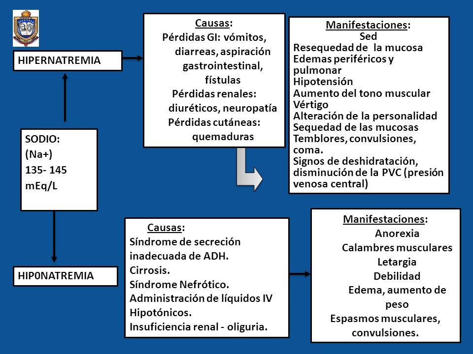 SODIO: (Na+) 135- 145 mEq/L HIPERNATREMIA HIP0NATREMIA Causas: Pérdidas GI: vómitos, diarreas, aspiración gastrointestinal, fístulas Pérdidas renales:
