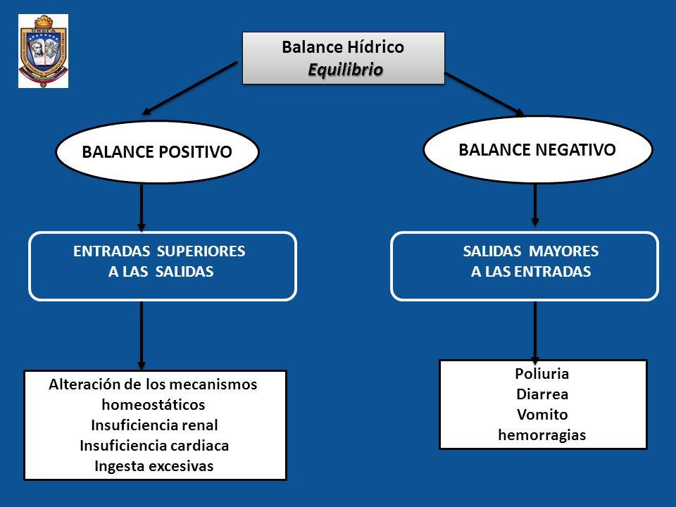 PROCEDIMIENTOS EN LAS ALTERACIONES HIDROELECTROLITICAS CONTROL DE LIQUIDOS INGERIDOS Entradas EELIMINADOS Salidas Balance hídrico equilibrio 1.Entradas: ingresos normales o fisiológicos.