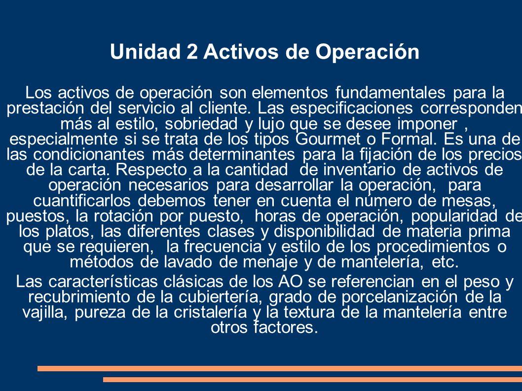 Unidad 2 Activos de Operación Los activos de operación son elementos fundamentales para la prestación del servicio al cliente. Las especificaciones co