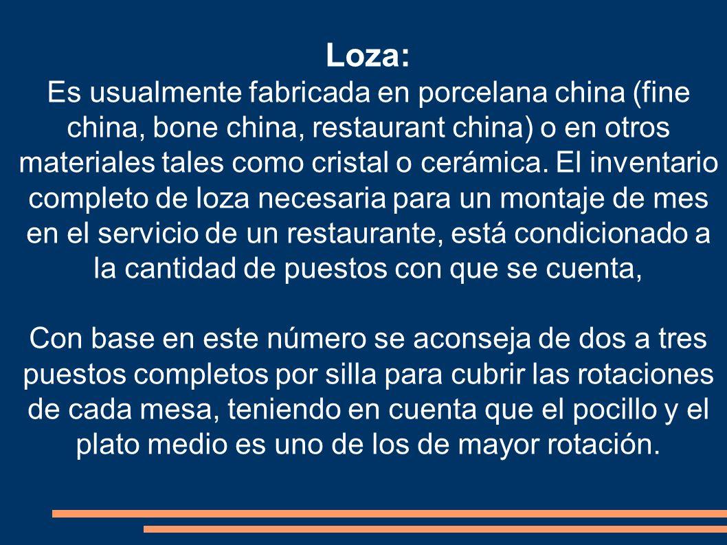 Loza: Es usualmente fabricada en porcelana china (fine china, bone china, restaurant china) o en otros materiales tales como cristal o cerámica. El in