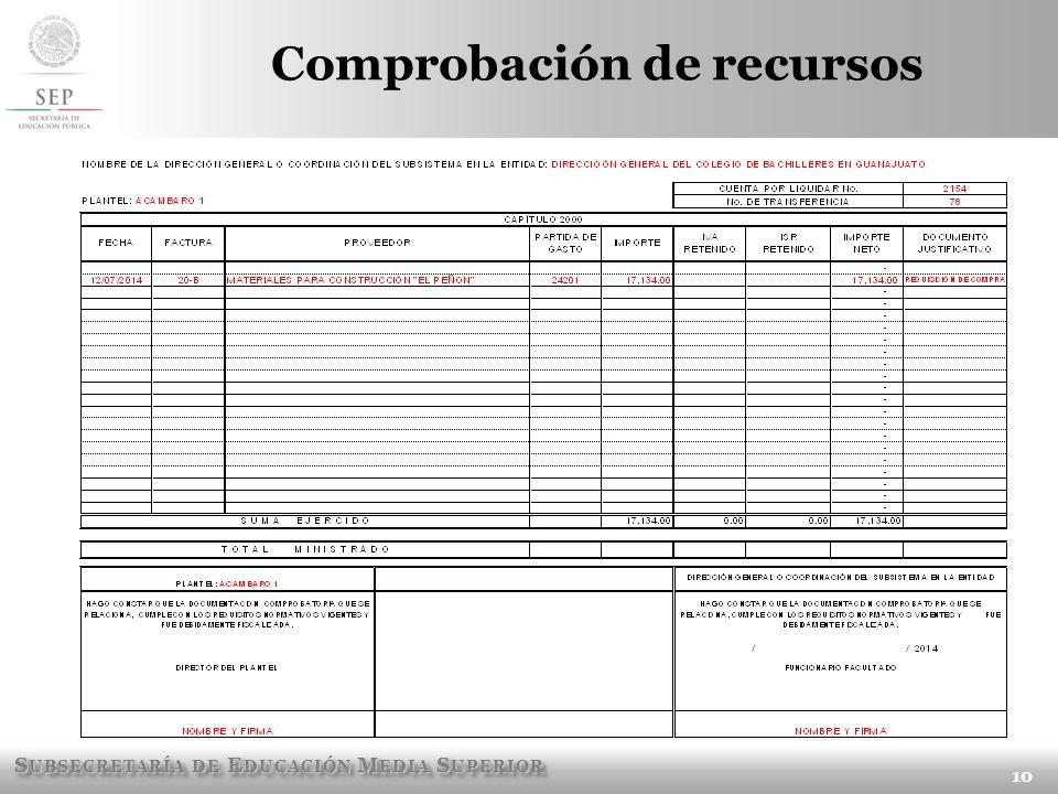 S UBSECRETARÍA DE E DUCACIÓN M EDIA S UPERIOR Comprobación de recursos 10
