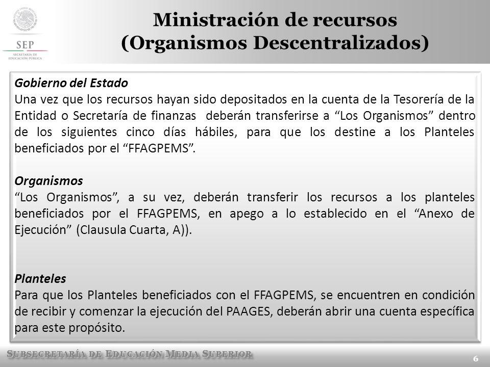 S UBSECRETARÍA DE E DUCACIÓN M EDIA S UPERIOR Ministración de recursos (Organismos Descentralizados) 6 Gobierno del Estado Una vez que los recursos ha