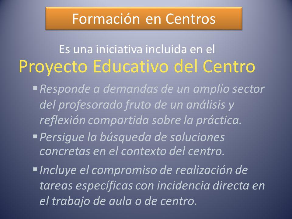 Formación en Centros Es una iniciativa incluida en el Proyecto Educativo del Centro  Responde a demandas de un amplio sector del profesorado fruto de un análisis y reflexión compartida sobre la práctica.