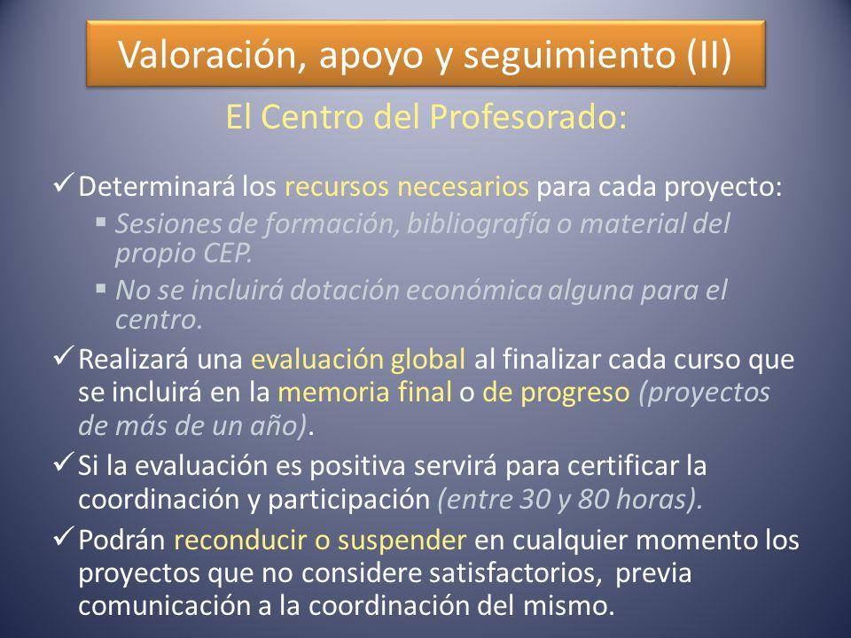 Valoración, apoyo y seguimiento (II) El Centro del Profesorado: Determinará los recursos necesarios para cada proyecto:  Sesiones de formación, bibliografía o material del propio CEP.
