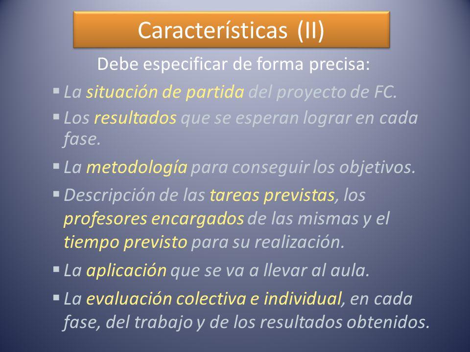 Características (II) Debe especificar de forma precisa:  La situación de partida del proyecto de FC.