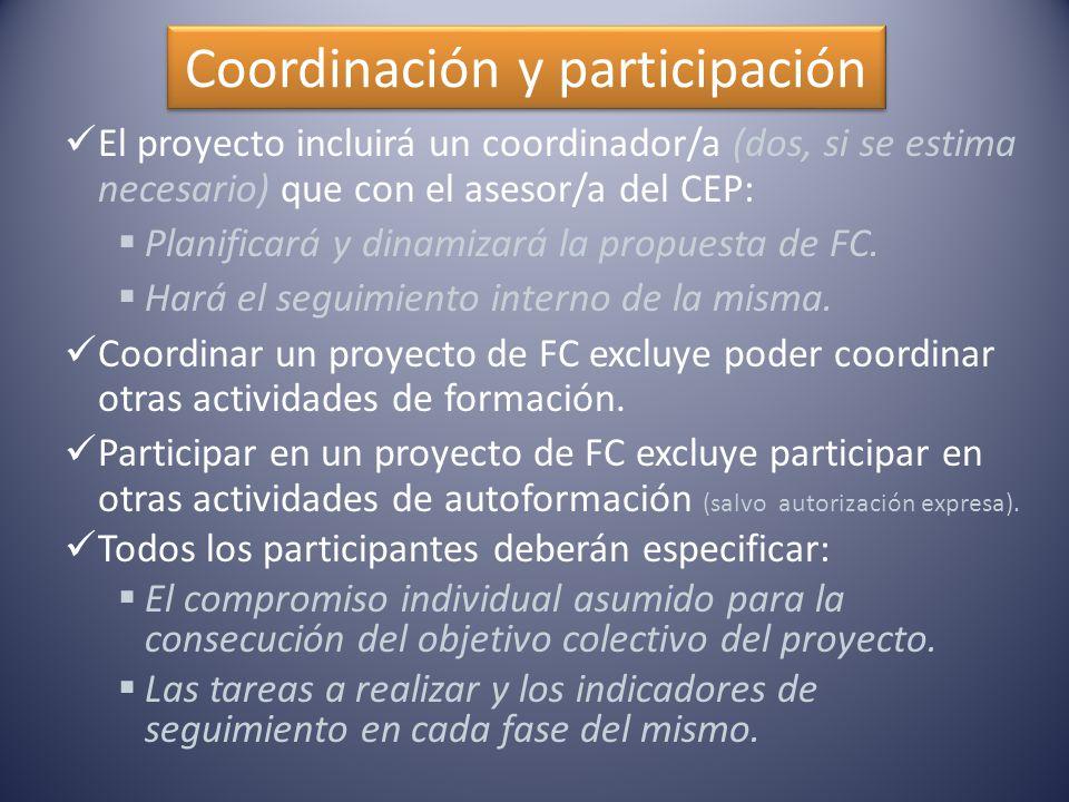 Coordinación y participación El proyecto incluirá un coordinador/a (dos, si se estima necesario) que con el asesor/a del CEP:  Planificará y dinamizará la propuesta de FC.