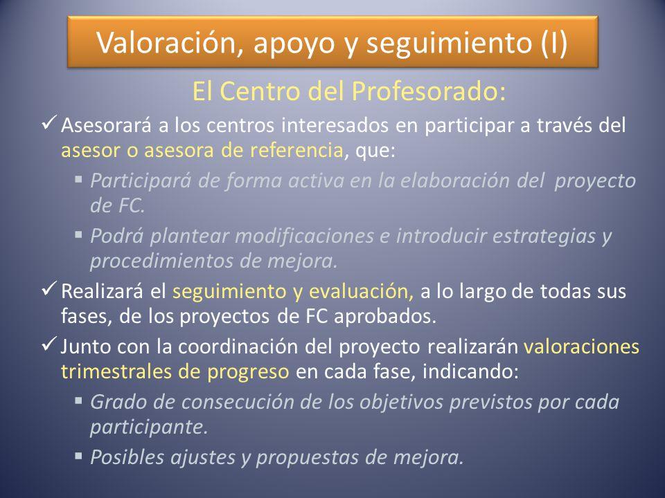 Valoración, apoyo y seguimiento (I) El Centro del Profesorado: Asesorará a los centros interesados en participar a través del asesor o asesora de referencia, que:  Participará de forma activa en la elaboración del proyecto de FC.