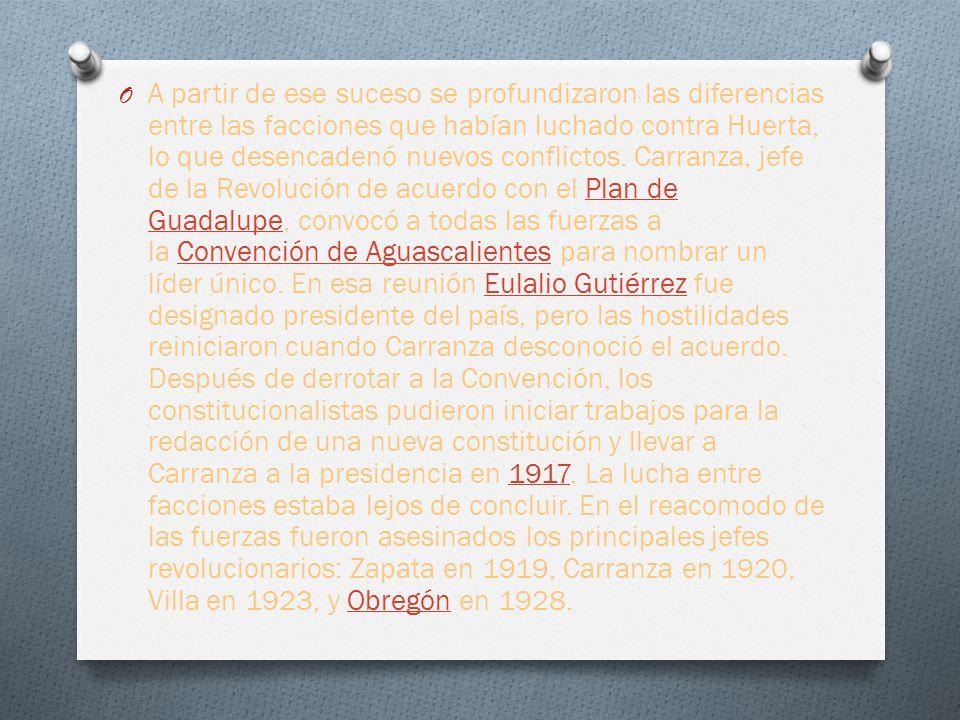 O A partir de ese suceso se profundizaron las diferencias entre las facciones que habían luchado contra Huerta, lo que desencadenó nuevos conflictos.