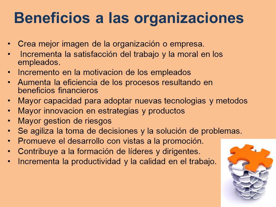 Beneficios al personal de trabajo Ayuda al individuo para la toma de decisiones y solución de problemas.