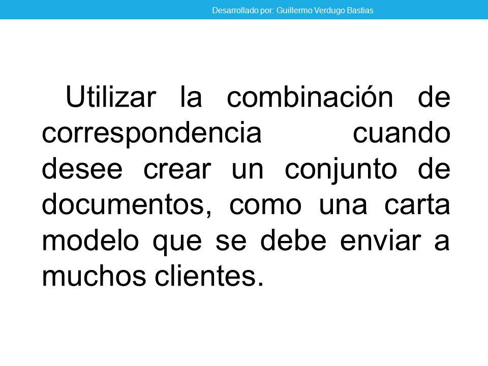 Utilizar la combinación de correspondencia cuando desee crear un conjunto de documentos, como una carta modelo que se debe enviar a muchos clientes.