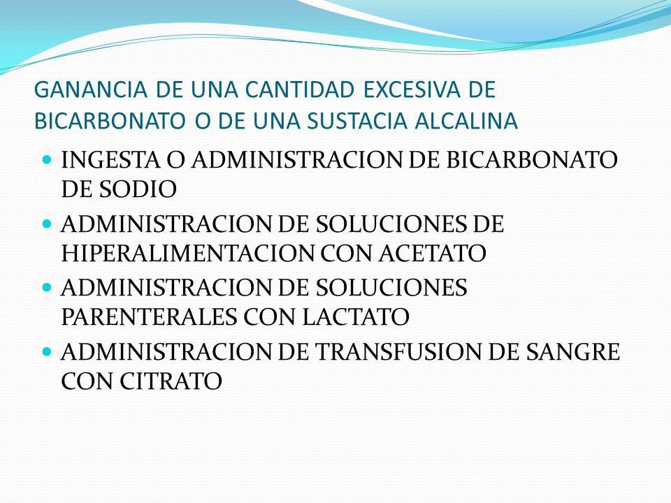 GANANCIA DE UNA CANTIDAD EXCESIVA DE BICARBONATO O DE UNA SUSTACIA ALCALINA INGESTA O ADMINISTRACION DE BICARBONATO DE SODIO ADMINISTRACION DE SOLUCIONES DE HIPERALIMENTACION CON ACETATO ADMINISTRACION DE SOLUCIONES PARENTERALES CON LACTATO ADMINISTRACION DE TRANSFUSION DE SANGRE CON CITRATO
