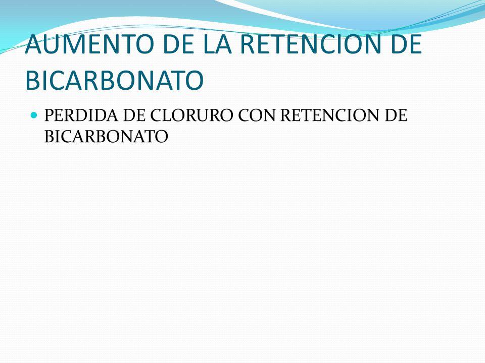 AUMENTO DE LA RETENCION DE BICARBONATO PERDIDA DE CLORURO CON RETENCION DE BICARBONATO