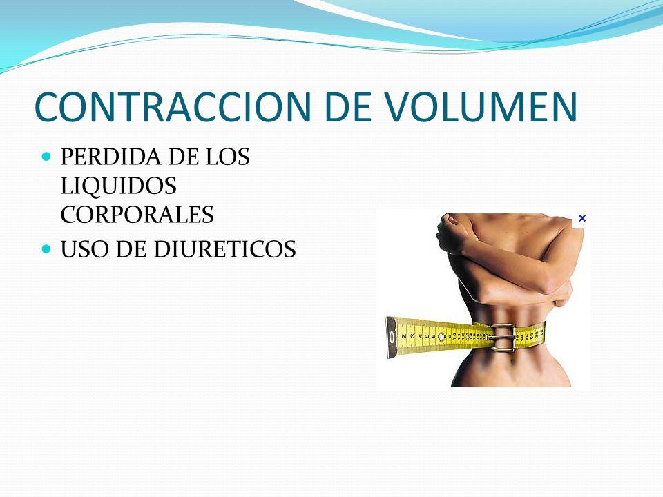 CONTRACCION DE VOLUMEN PERDIDA DE LOS LIQUIDOS CORPORALES USO DE DIURETICOS