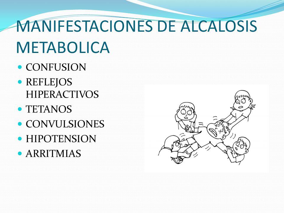 MANIFESTACIONES DE ALCALOSIS METABOLICA CONFUSION REFLEJOS HIPERACTIVOS TETANOS CONVULSIONES HIPOTENSION ARRITMIAS