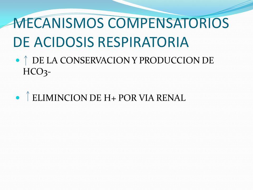 MECANISMOS COMPENSATORIOS DE ACIDOSIS RESPIRATORIA DE LA CONSERVACION Y PRODUCCION DE HCO3- ELIMINCION DE H+ POR VIA RENAL