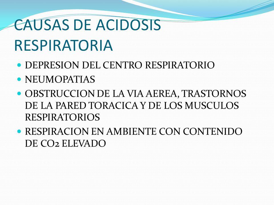 CAUSAS DE ACIDOSIS RESPIRATORIA DEPRESION DEL CENTRO RESPIRATORIO NEUMOPATIAS OBSTRUCCION DE LA VIA AEREA, TRASTORNOS DE LA PARED TORACICA Y DE LOS MUSCULOS RESPIRATORIOS RESPIRACION EN AMBIENTE CON CONTENIDO DE CO2 ELEVADO