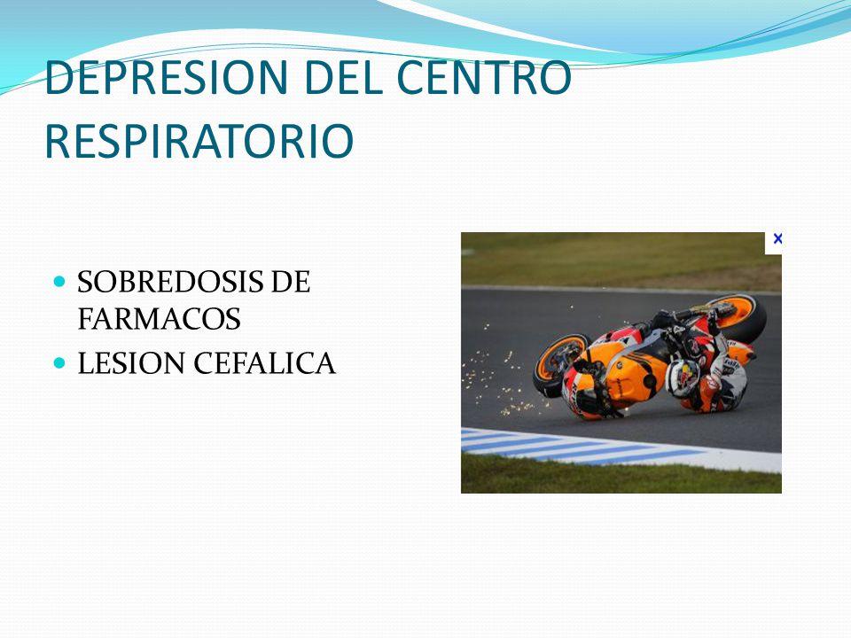DEPRESION DEL CENTRO RESPIRATORIO SOBREDOSIS DE FARMACOS LESION CEFALICA
