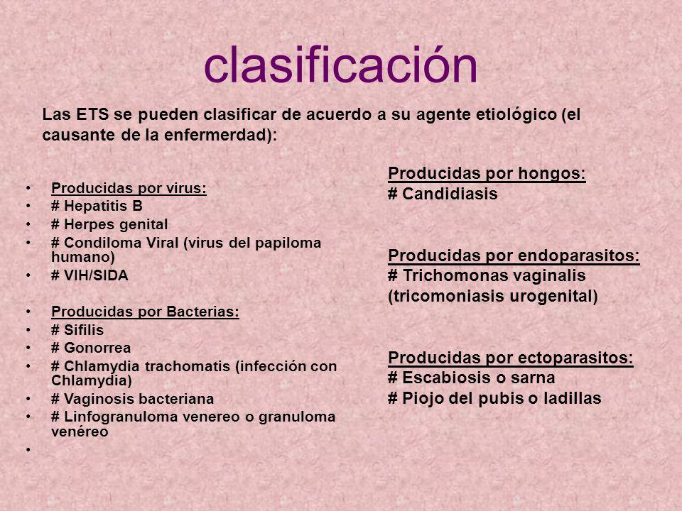 clasificación Producidas por virus: # Hepatitis B # Herpes genital # Condiloma Viral (virus del papiloma humano) # VIH/SIDA Producidas por Bacterias: # Sifilis # Gonorrea # Chlamydia trachomatis (infección con Chlamydia) # Vaginosis bacteriana # Linfogranuloma venereo o granuloma venéreo Producidas por hongos: # Candidiasis Producidas por endoparasitos: # Trichomonas vaginalis (tricomoniasis urogenital) Producidas por ectoparasitos: # Escabiosis o sarna # Piojo del pubis o ladillas Las ETS se pueden clasificar de acuerdo a su agente etiológico (el causante de la enfermerdad):