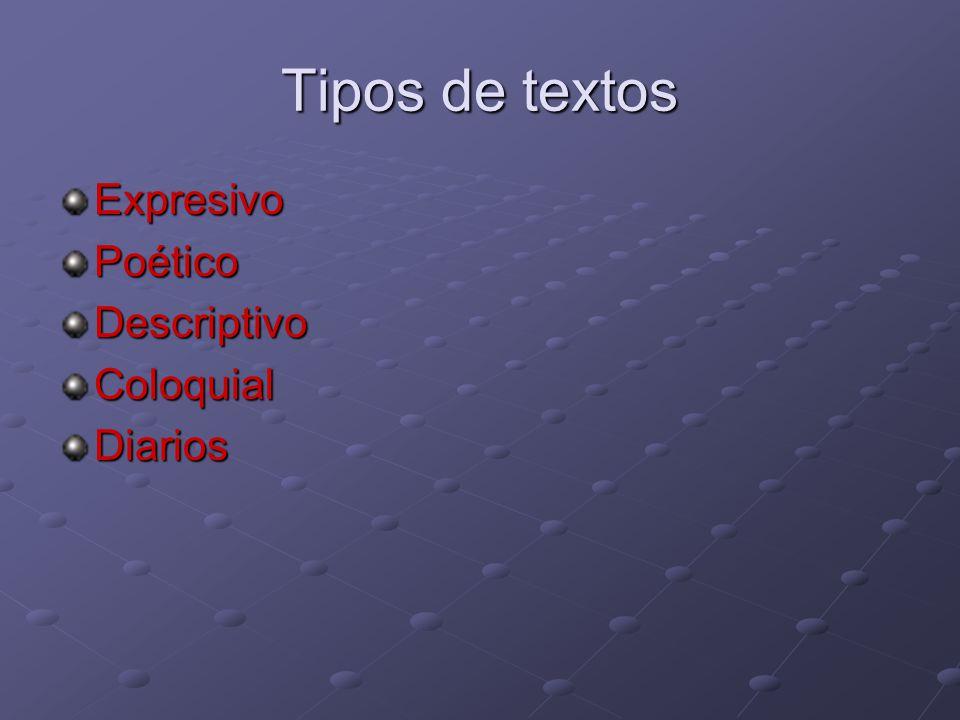 Tipos de textos ExpresivoPoéticoDescriptivoColoquialDiarios