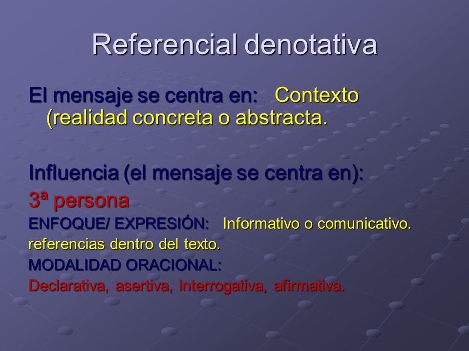 Referencial denotativa El mensaje se centra en: Contexto (realidad concreta o abstracta.