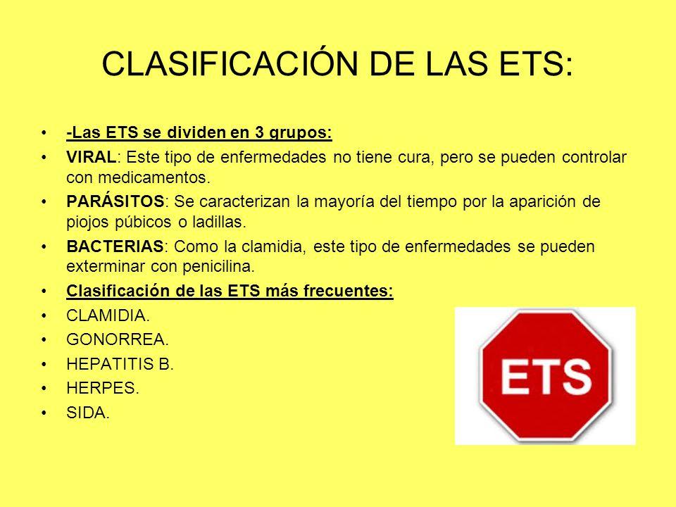 CLASIFICACIÓN DE LAS ETS: -Las ETS se dividen en 3 grupos: VIRAL: Este tipo de enfermedades no tiene cura, pero se pueden controlar con medicamentos.