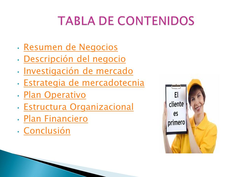 Resumen de Negocios Descripción del negocio Investigación de mercado Estrategia de mercadotecnia Plan Operativo Estructura Organizacional Plan Financiero Conclusión