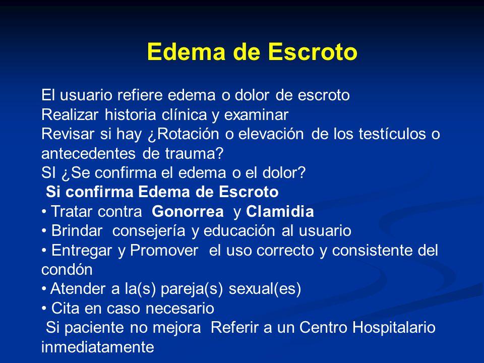 Edema de Escroto El usuario refiere edema o dolor de escroto Realizar historia clínica y examinar Revisar si hay ¿Rotación o elevación de los testículos o antecedentes de trauma.