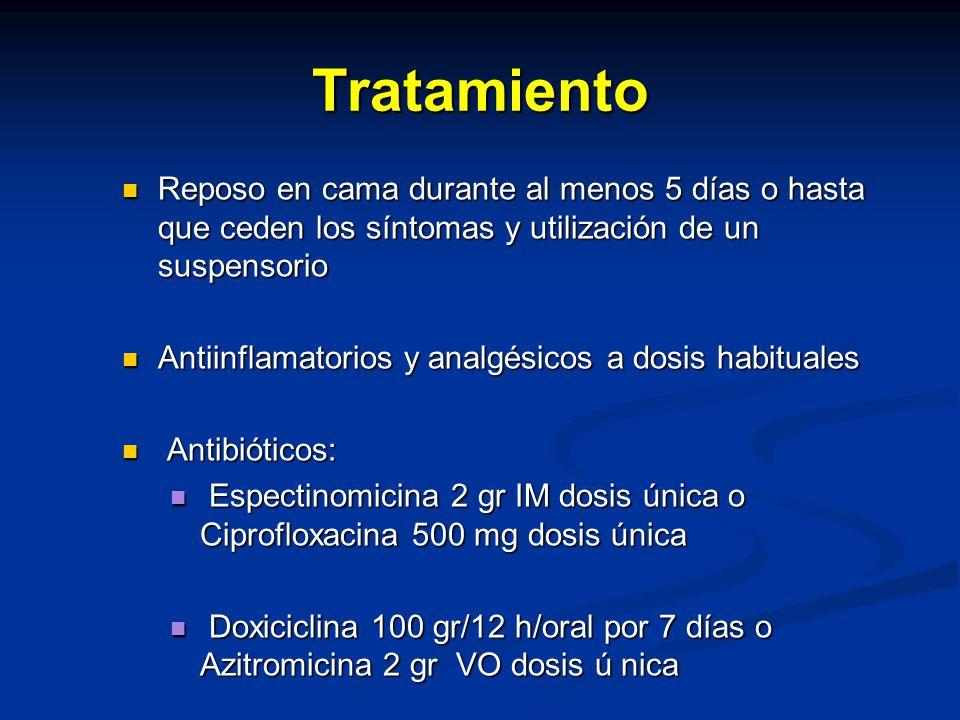 Tratamiento Reposo en cama durante al menos 5 días o hasta que ceden los síntomas y utilización de un suspensorio Reposo en cama durante al menos 5 días o hasta que ceden los síntomas y utilización de un suspensorio Antiinflamatorios y analgésicos a dosis habituales Antiinflamatorios y analgésicos a dosis habituales Antibióticos: Antibióticos: Espectinomicina 2 gr IM dosis única o Ciprofloxacina 500 mg dosis única Espectinomicina 2 gr IM dosis única o Ciprofloxacina 500 mg dosis única Doxiciclina 100 gr/12 h/oral por 7 días o Azitromicina 2 gr VO dosis ú nica Doxiciclina 100 gr/12 h/oral por 7 días o Azitromicina 2 gr VO dosis ú nica