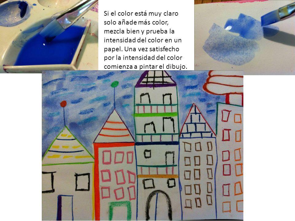 Si el color está muy claro solo añade más color, mezcla bien y prueba la intensidad del color en un papel. Una vez satisfecho por la intensidad del co