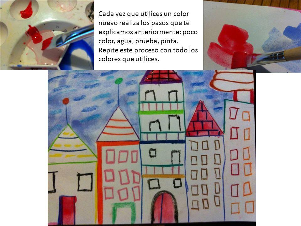 Cada vez que utilices un color nuevo realiza los pasos que te explicamos anteriormente: poco color, agua, prueba, pinta. Repite este proceso con todo