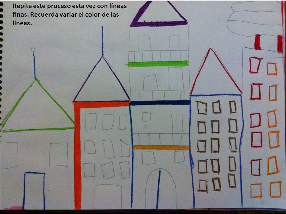 Repite este proceso esta vez con líneas finas. Recuerda variar el color de las líneas.