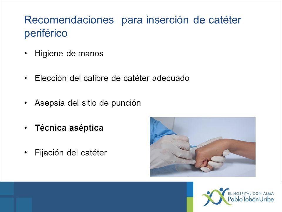 Recomendaciones para inserción de catéter periférico Higiene de manos Elección del calibre de catéter adecuado Asepsia del sitio de punción Técnica as