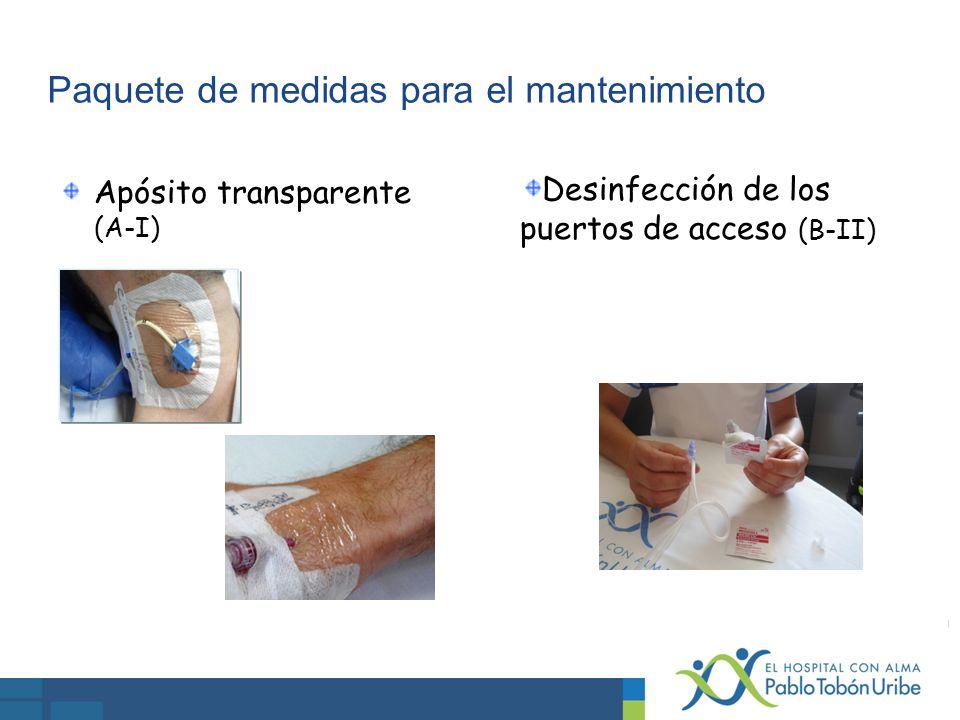 Paquete de medidas para el mantenimiento Apósito transparente (A-I) Desinfección de los puertos de acceso (B-II)