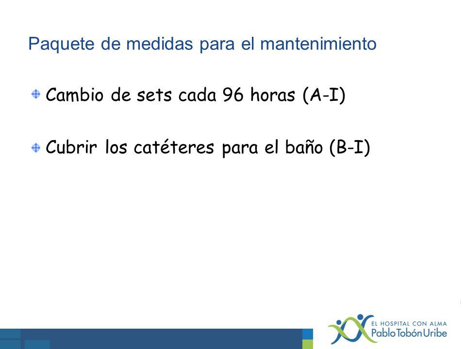 Paquete de medidas para el mantenimiento Cambio de sets cada 96 horas (A-I) Cubrir los catéteres para el baño (B-I)