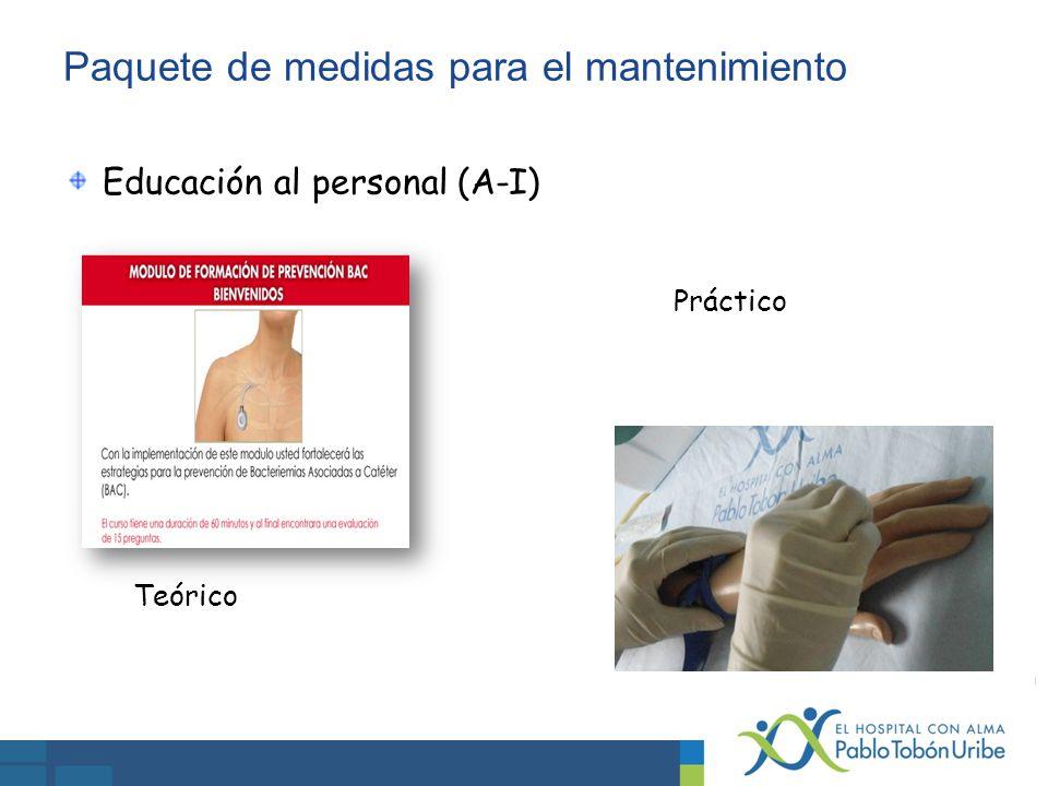 Paquete de medidas para el mantenimiento Educación al personal (A-I) Teórico Práctico