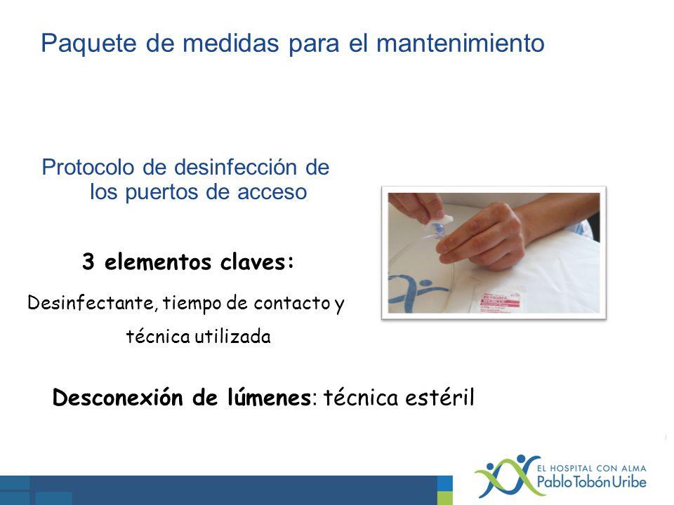 Protocolo de desinfección de los puertos de acceso 3 elementos claves: Desinfectante, tiempo de contacto y técnica utilizada Desconexión de lúmenes :