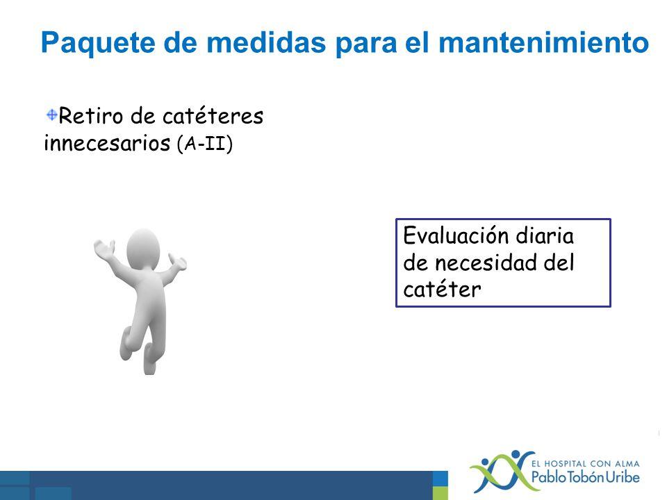 Retiro de catéteres innecesarios (A-II) Evaluación diaria de necesidad del catéter