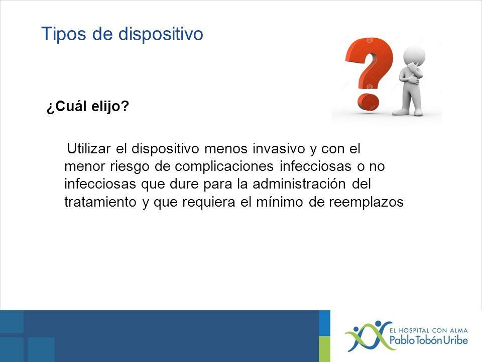 Tipos de dispositivo ¿Cuál elijo? Utilizar el dispositivo menos invasivo y con el menor riesgo de complicaciones infecciosas o no infecciosas que dure