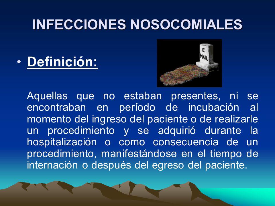 INFECCIONES NOSOCOMIALES Definición: Aquellas que no estaban presentes, ni se encontraban en período de incubación al momento del ingreso del paciente