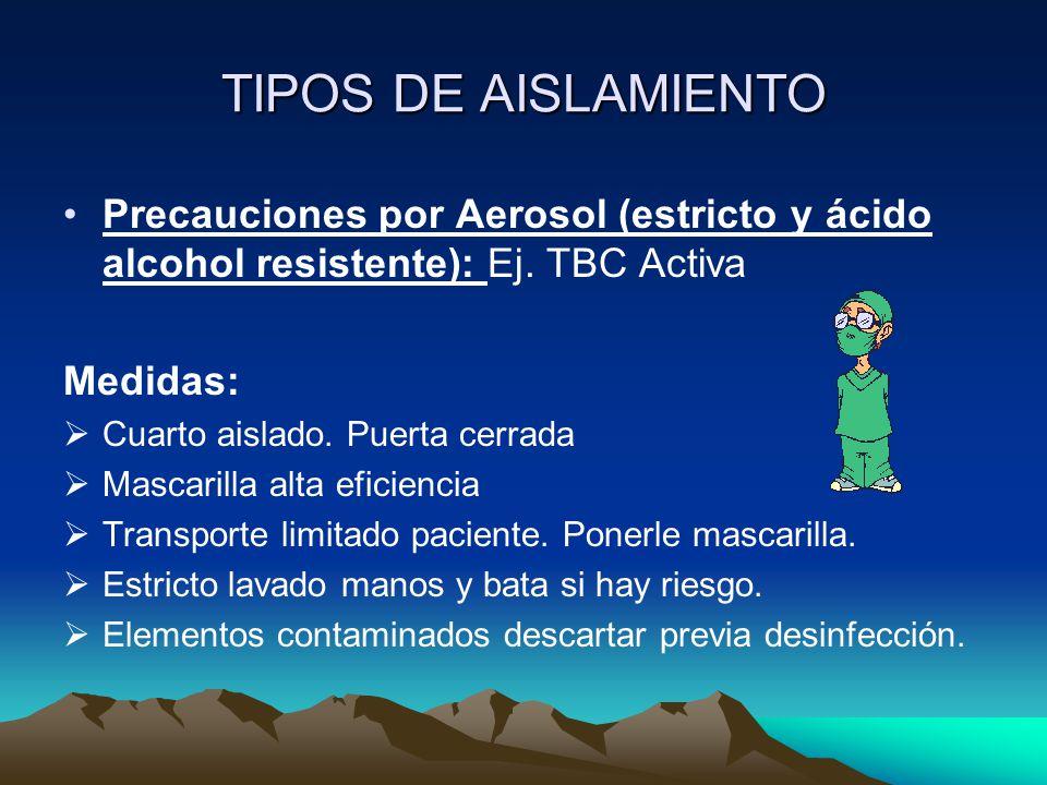 TIPOS DE AISLAMIENTO Precauciones por Aerosol (estricto y ácido alcohol resistente): Ej. TBC Activa Medidas:  Cuarto aislado. Puerta cerrada  Mascar